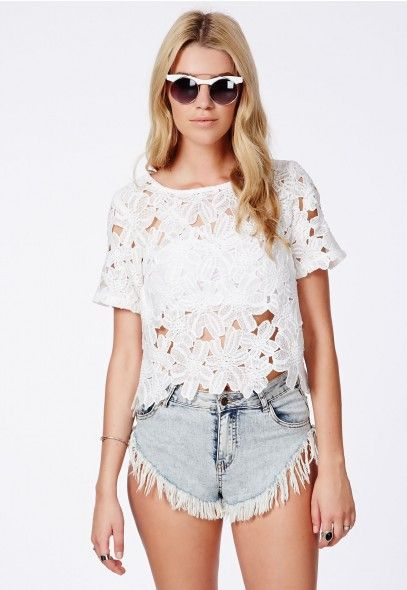 Pavla Crochet Floral Shell Top - Shell Tops - Missguided