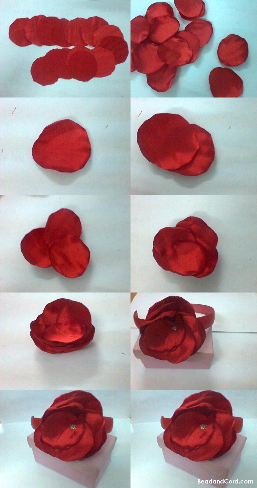 9 Color Choices ~ Fabric Flower Floral Crystal Gem Stretch Crochet Hair Headband Girls' Accessories