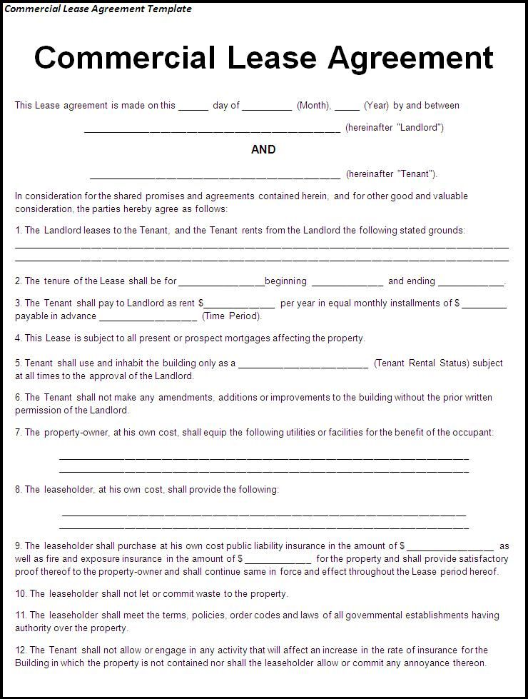 Commercial Lease Agreement Template - Best Word Templates - triple net lease form