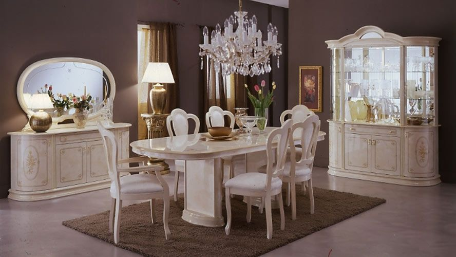 an incredible table with 10 chairs from 2017 collections; a