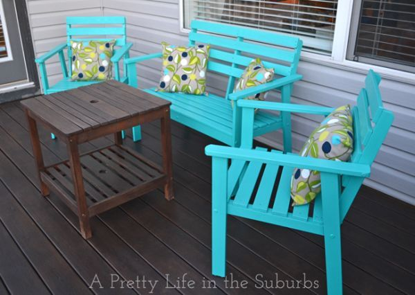 15 Diy Ideas For Sprucing Up Your Backyard Wood Patio Furniture Painted Outdoor Furniture Deck Furniture