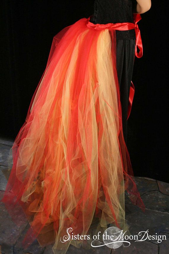Floor Length Flame Bustle Burlesque Tie On By