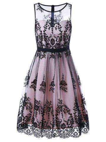 fc0432948e Mesh Floral Print Cocktail Prom Dress