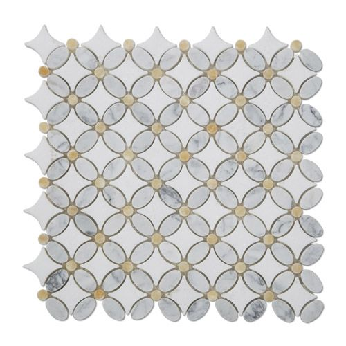 Honey Onyx And White Marble Flower Mosaic Tile