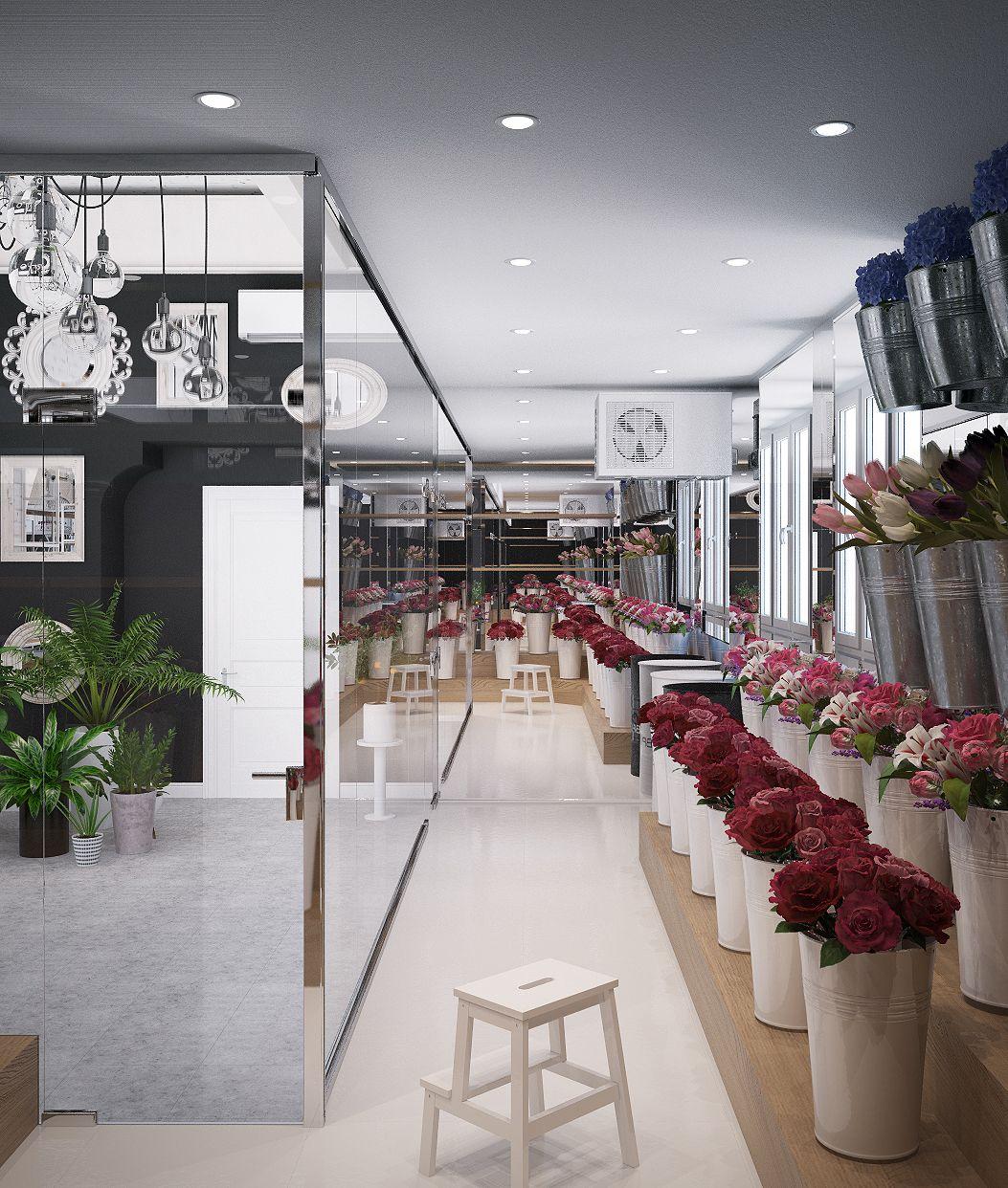 Интерьер цветочного магазина стиле лофт on Behance