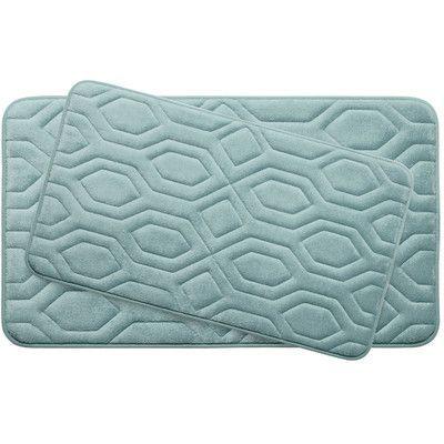 Bath Studio Turtle Shell Large 2 Piece Premium Micro Plush Memory Foam Bath Mat Set Color: