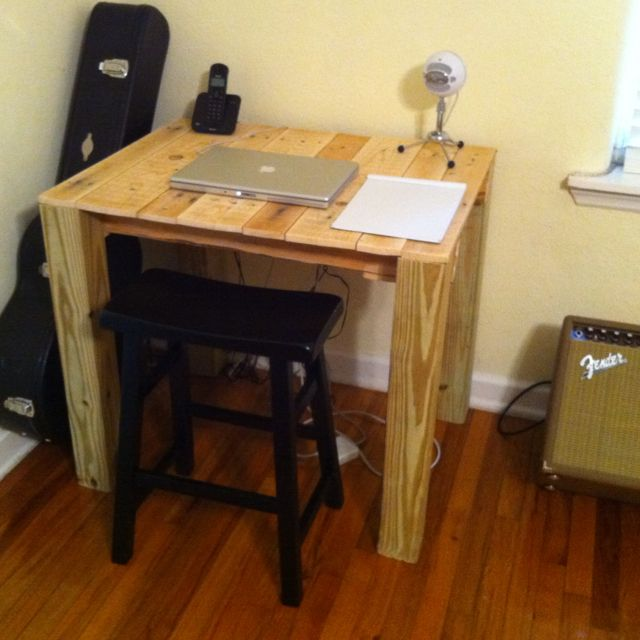 Wood pallet desk finished cost 6 4x4 for legs diy - Average price to paint a bedroom ...