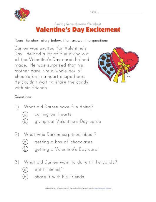 Valentine S Day Reading Comprehension Worksheet Reading Worksheets Reading Comprehension Reading Comprehension Worksheets