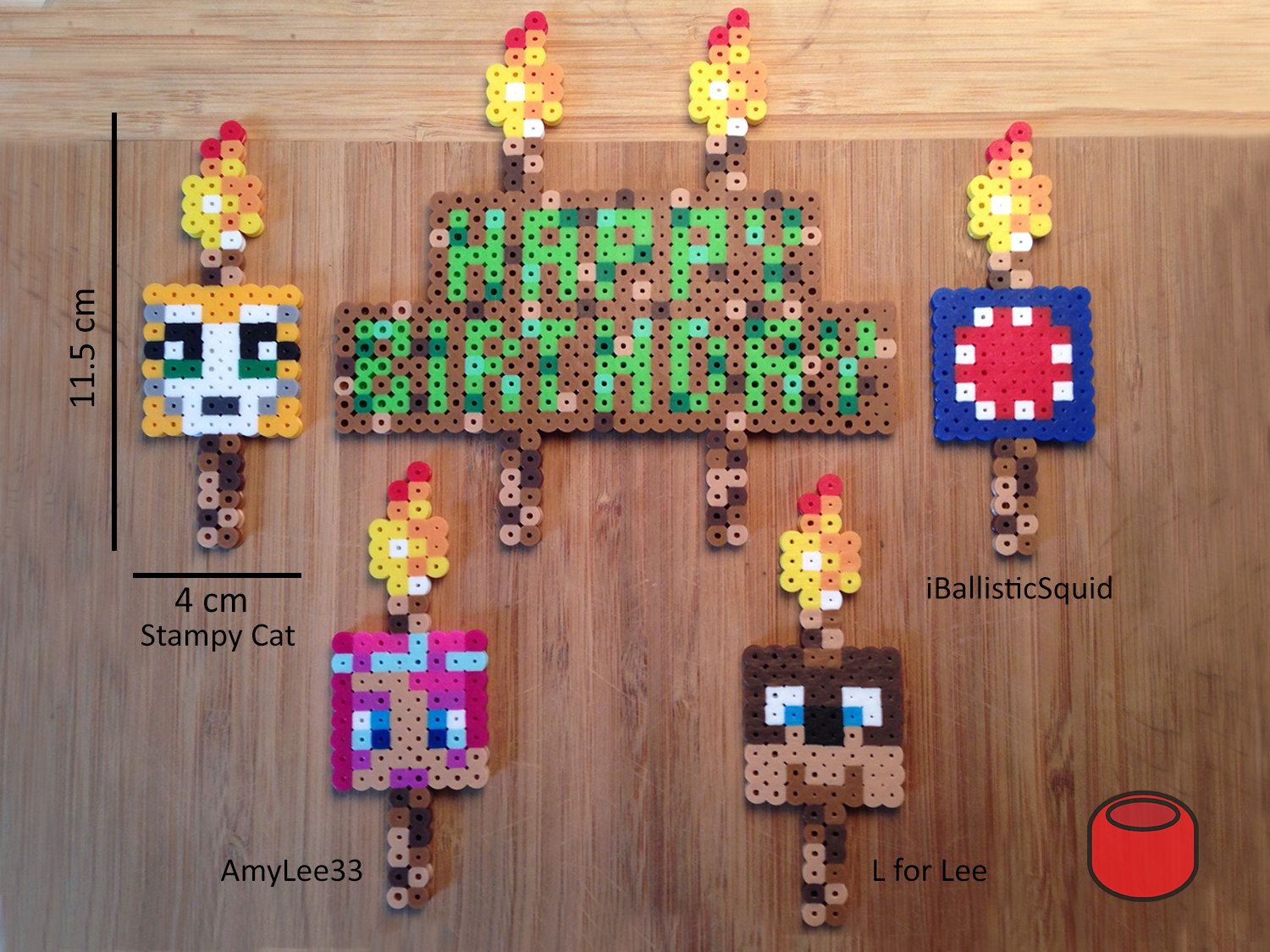 Pixel Happy Birthday Cake Topper Sign And Stampy Cat And