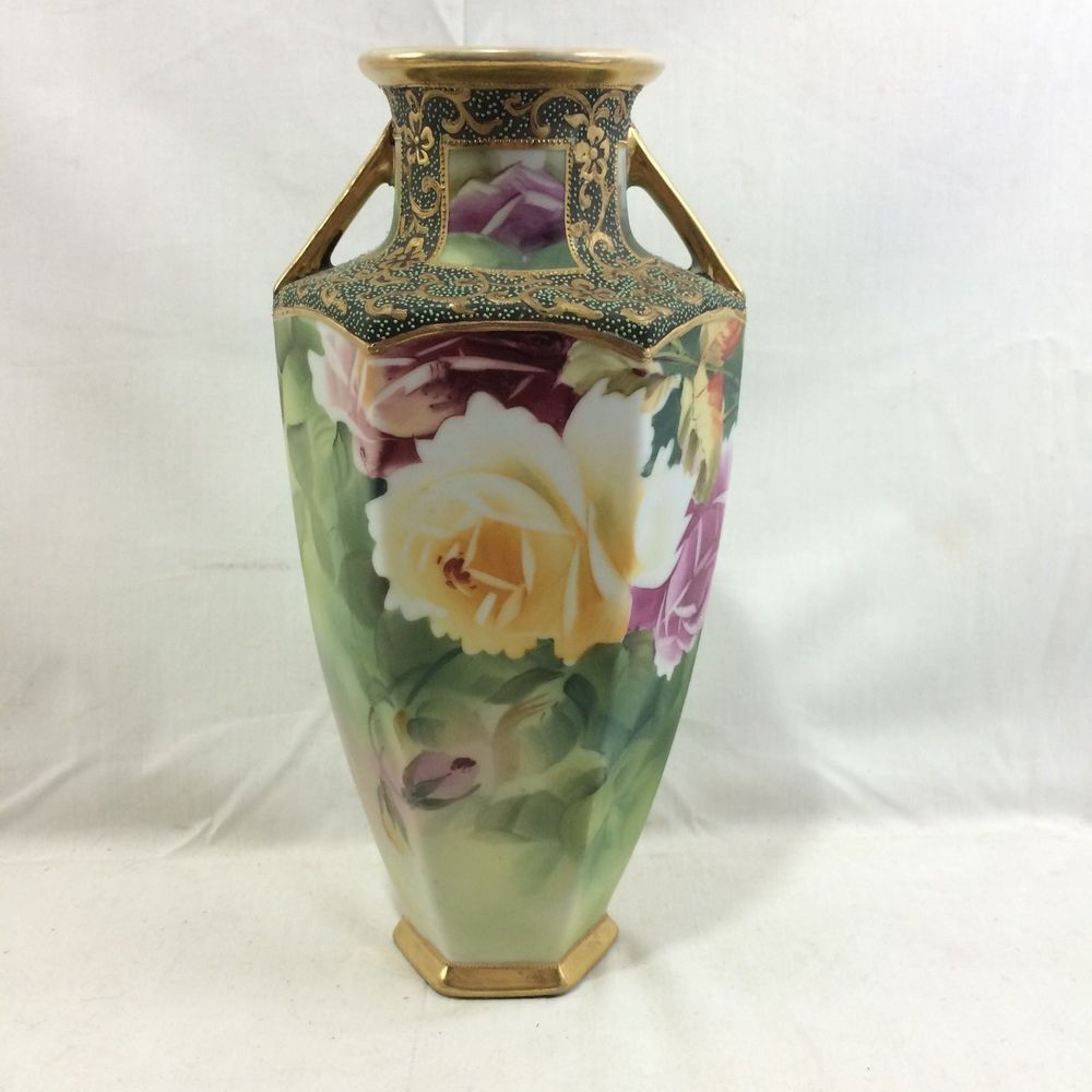 Great antique vintage nippon hand painted handled vase w raised great antique vintage nippon hand painted handled vase w raised gold 11 reviewsmspy