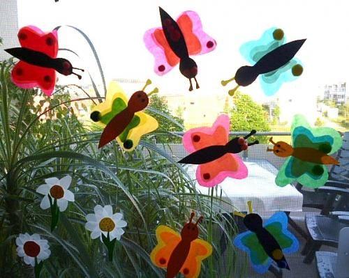 Schmetterlinge aus Transparentpapier fürs Fenster - Tiere ...