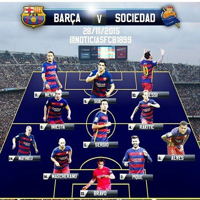 Official Line-up FC Barcelona against Real Sociedad  #fcblive #FcBarcelona #igersFCB #Barcelona