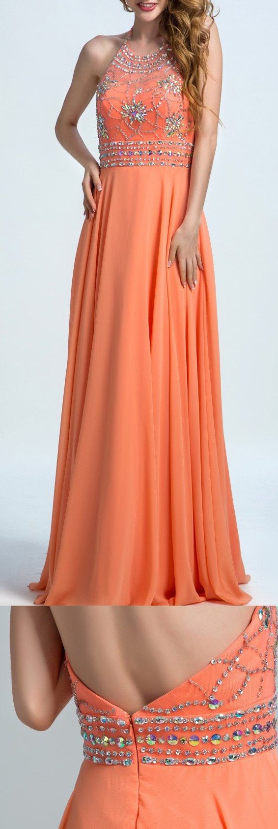 Hot sale coral alineprincess evening prom dresses absorbing long