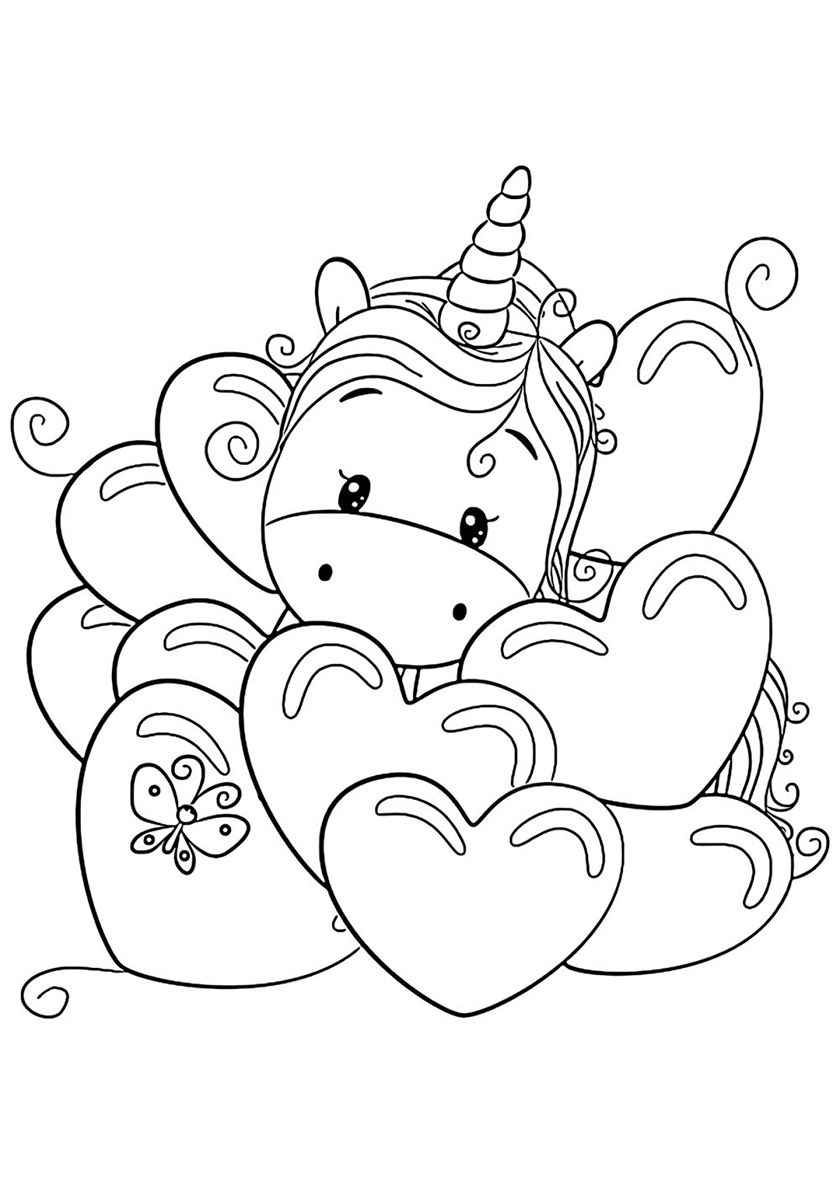 A Lot Of Love High Quality Free Coloring From The Category Unicorn More Printable Pictures On O Love Coloring Pages Free Kids Coloring Pages Coloring Pages