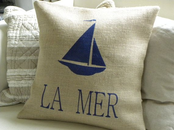 Burlap beach house yacht La Mer pillow cover by TheNestUK on Etsy