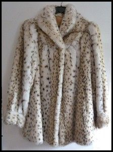 Beautiful Vintage Faux Fur Snow Leopard Coat From Astraka    From the late 1960's brand new no tags-great for xmas on ebay now