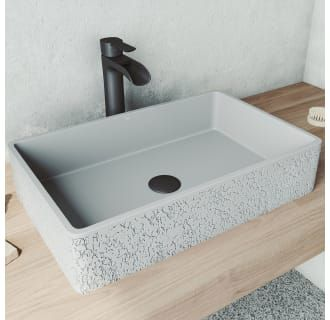 Photo of Vigo VG04054 Ash Rectangular Vessel Bowl Cast Stone Natural Stone Gray Dahlia Bathroom Sink – FaucetDirect.com
