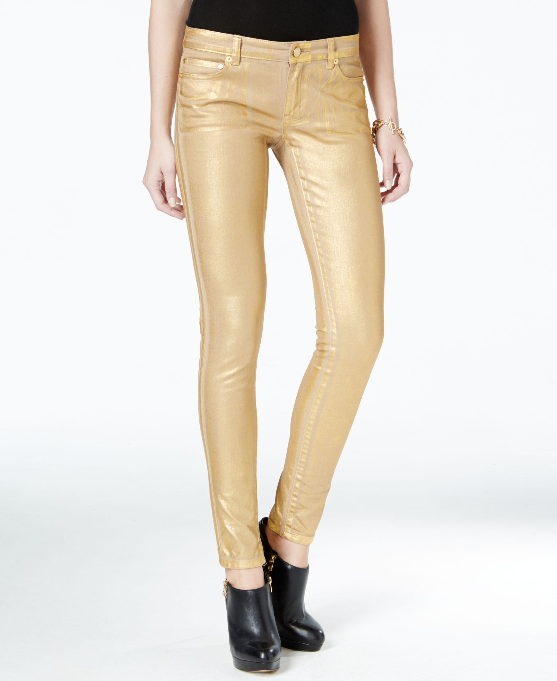 6a9eee90cbe95 Michael Michael Kors Metallic Gold Wash Skinny Jeans