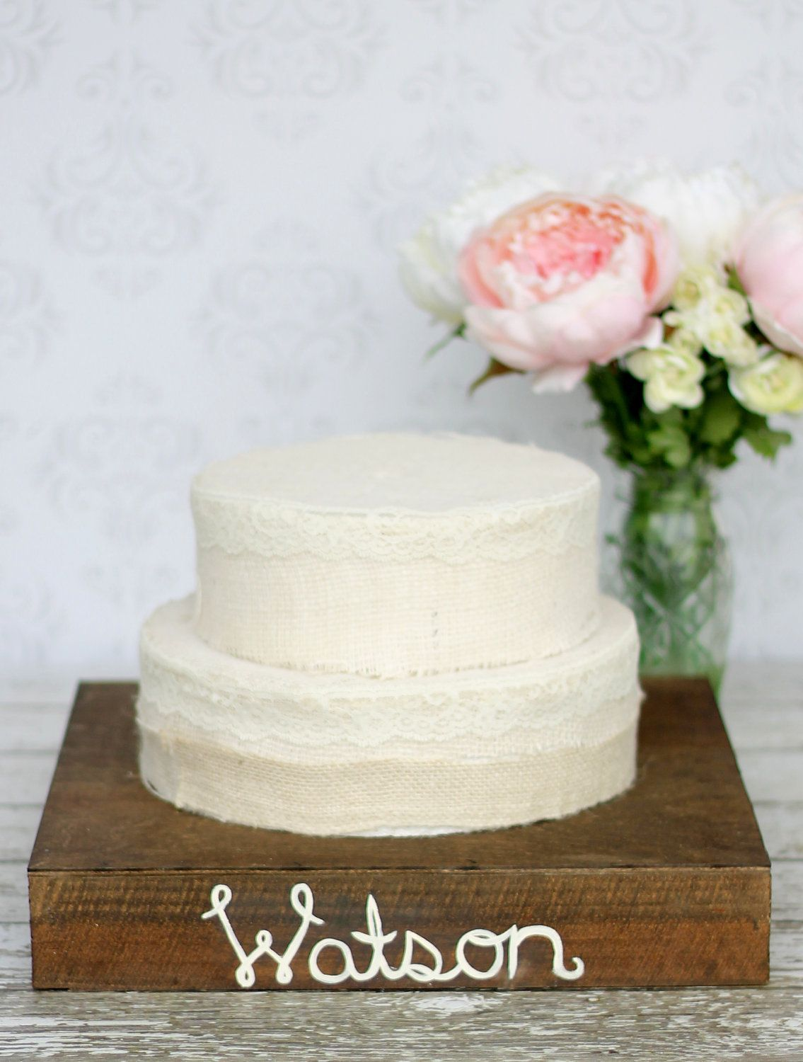 Personalized cake stand rustic wedding decor item p
