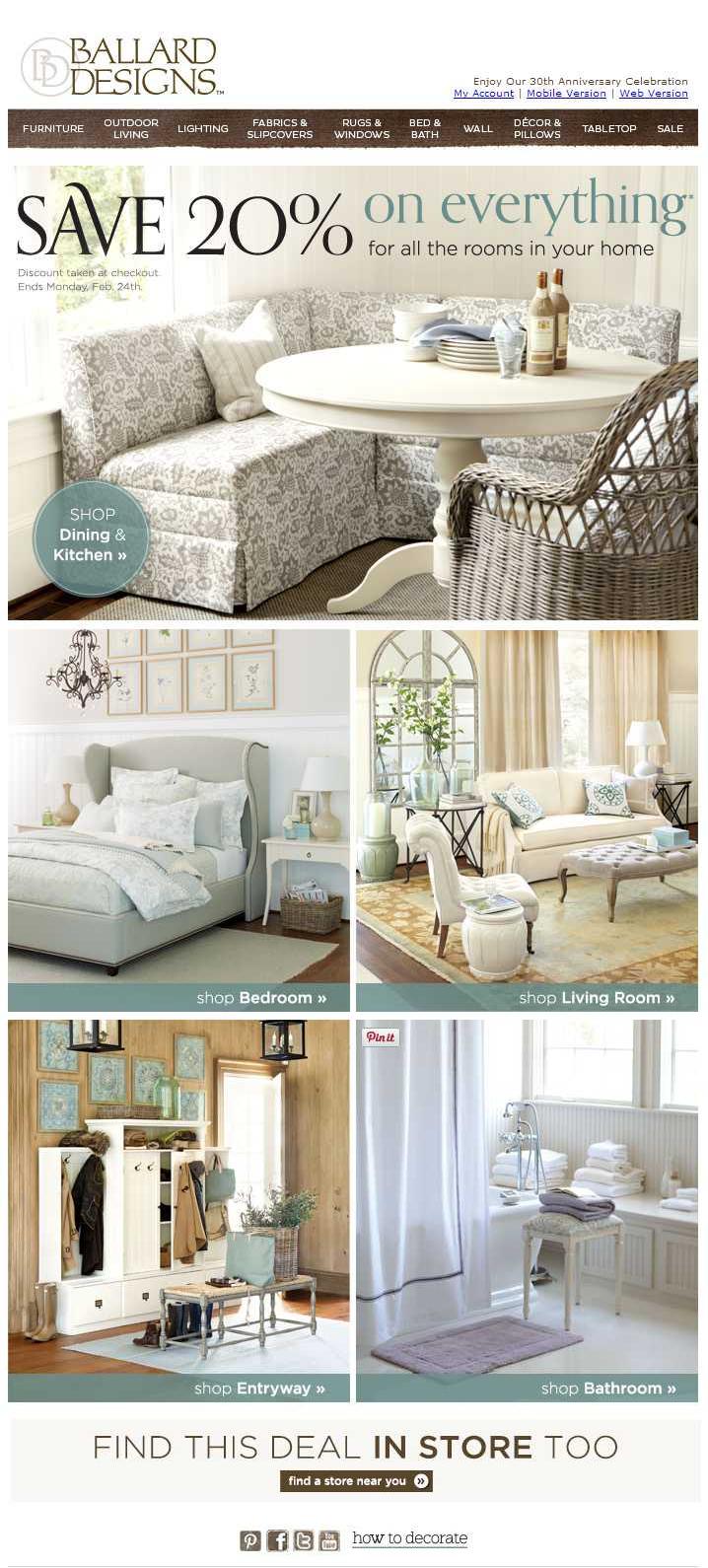 ballard designs email shoproom | email - design/box layout