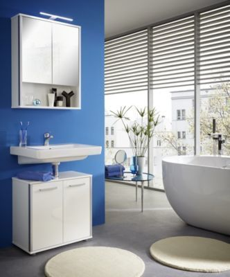 Spiegelschrank mit Waschbeckenunterschrank weiss hochglanz