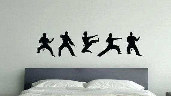 Karate Silhouettes Kids Wall Decal Etsy In 2020 Kids Wall Decals Kids Silhouette Decal Wall Art