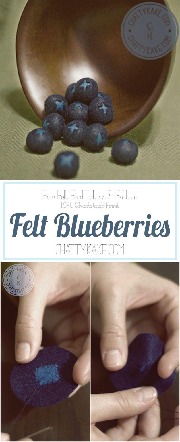 Anleitung für Blaubeeren aus Filz. Tutorial, Felt Food #felttoys