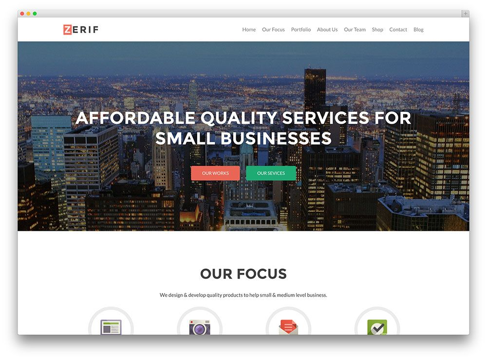 Zerif Pro One page wordpress theme