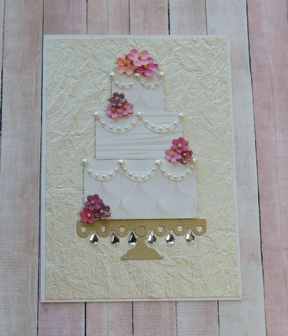 handmade wedding cake card anniversary cake card  wedding