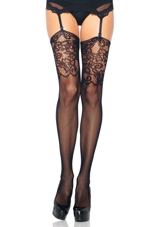 99a931e4fd Socks by Sock Dreams » .Socks » Thigh Highs » Jacquard Lace Top Fishnet  Stockings