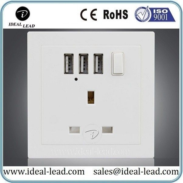 UK 1 gang wall socket with 3 usb ports and switch | usb wall socket ...