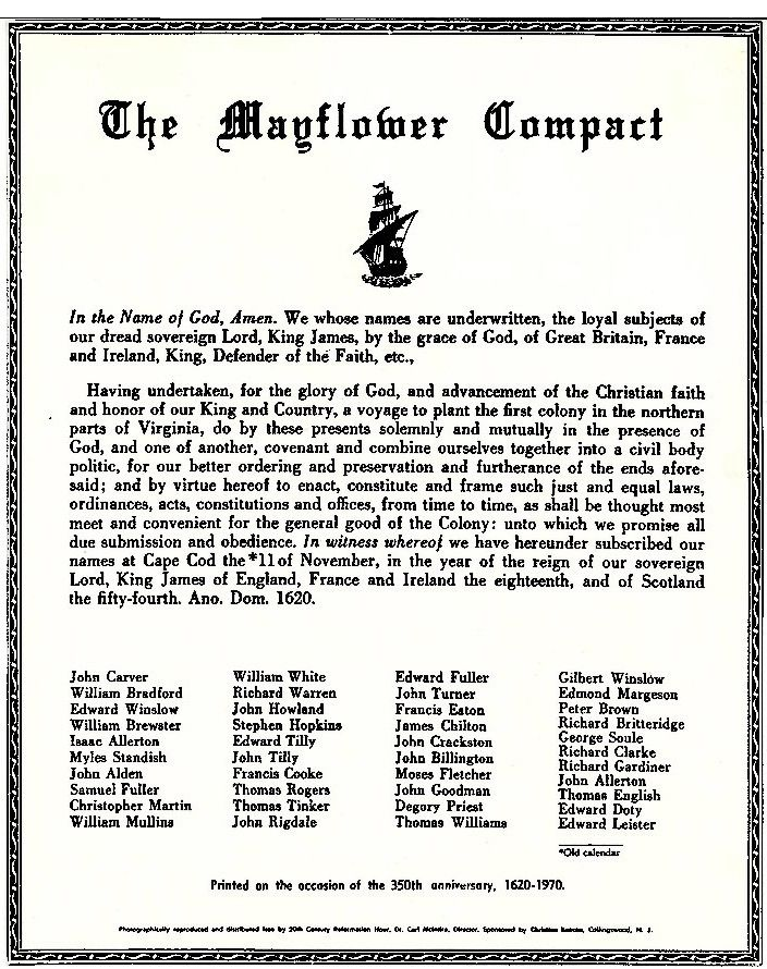 The Entire Mayflower Compact In Original Unedited Form