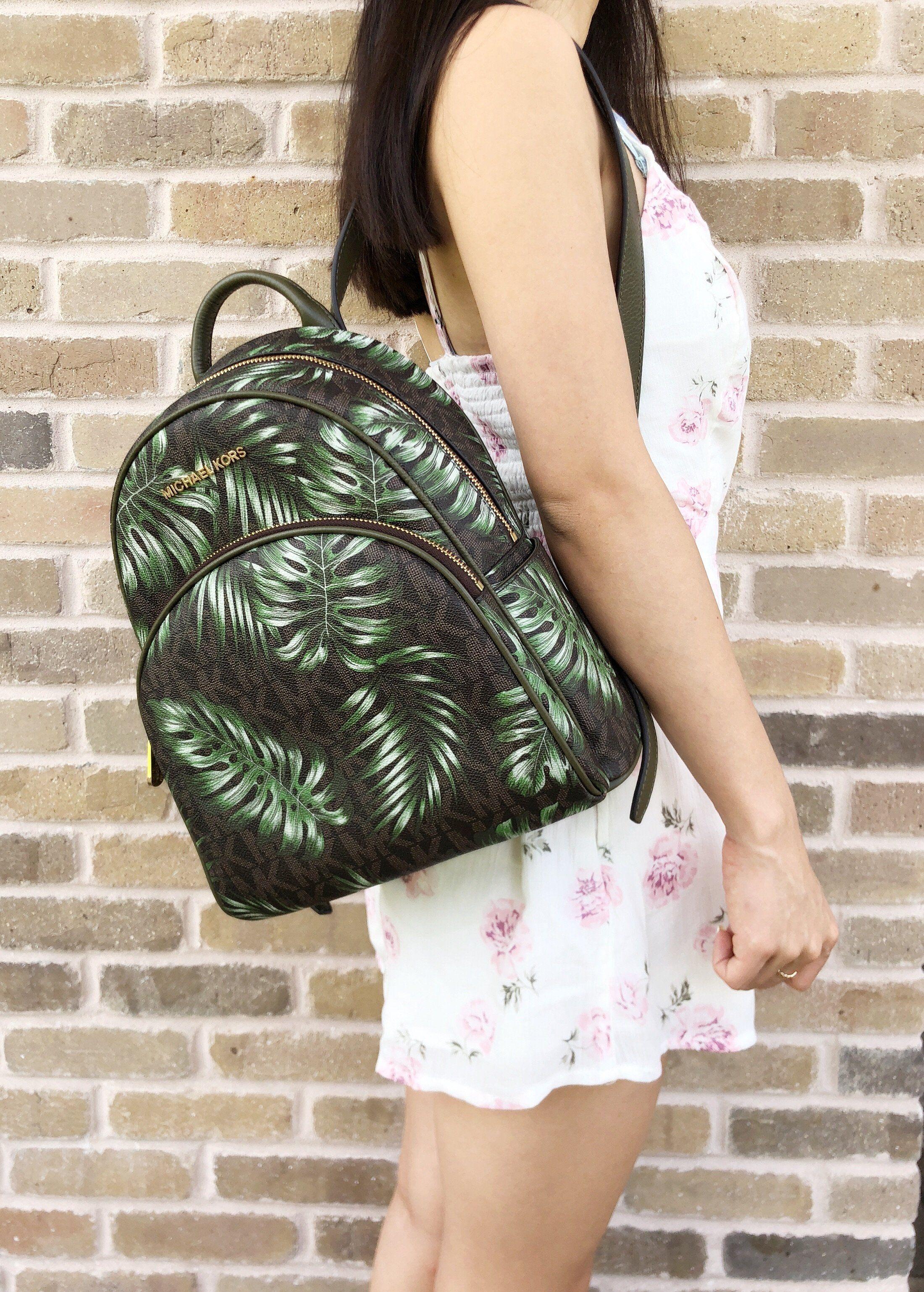 d28cd9576cd6 Michael Kors Abbey Medium Backpack Brown MK Olive Green Palm Leaves #MK  #poshcloset #michaelkorsaria #poshboss #posh #tradesy #poshpackages ...