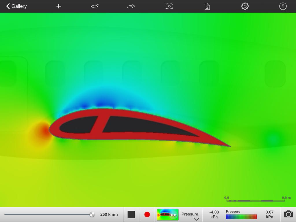 The airfoil above was imported from a cross section image of an airplane. The ForceEffect Flow app can analyze the flow and pressure buildup around the wing.