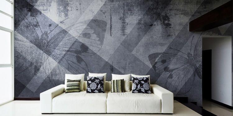 graue Tapete mit Schmetterlingen und geometrischem Muster - Now - graue tapete wohnzimmer