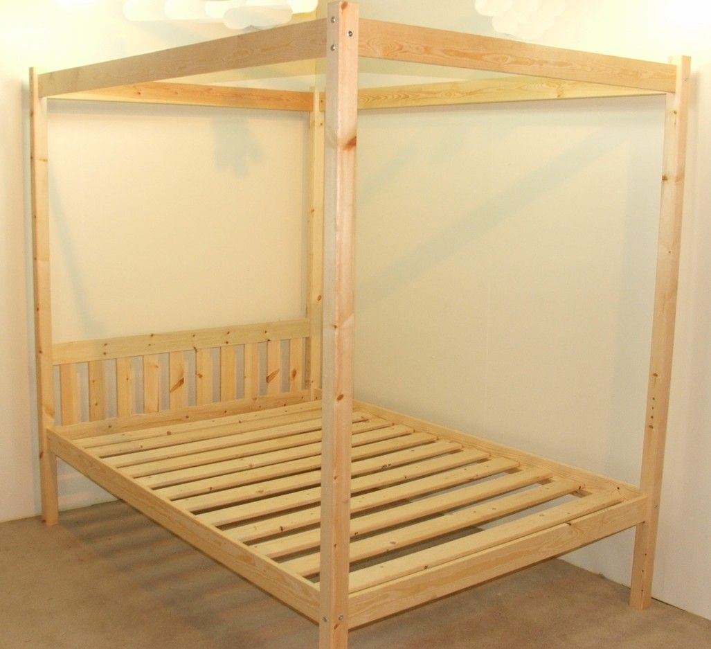 Quattro 4ft Small Double Four Poster Solid Pine Bed Frame Four Poster Bed Frame Pine Bed Frame Bed Frame