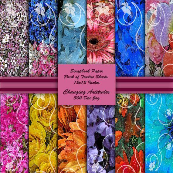 Floral Scrapbook Craft Paper 12x12 Digital by ChangingArtitudes