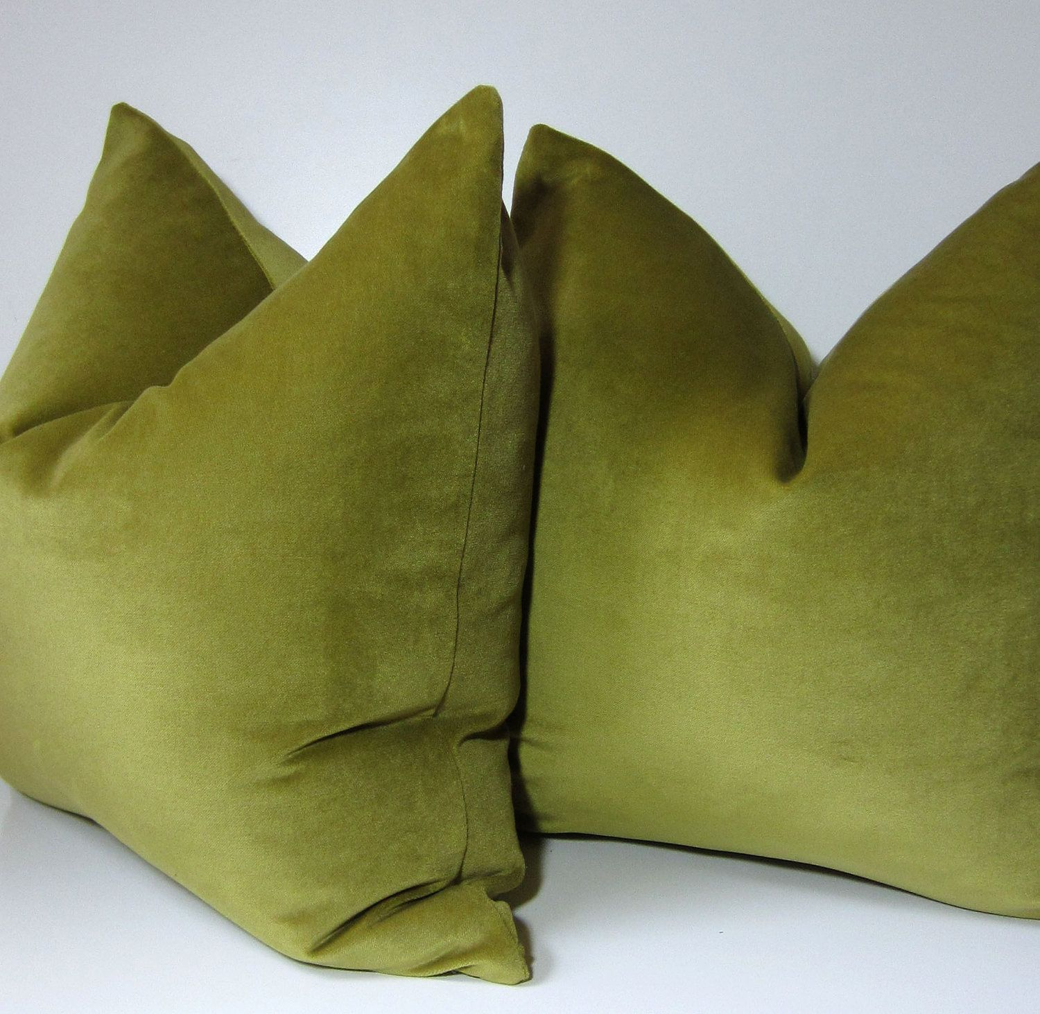 Etsy Green Throw Pillow : Set Two - Chartreuse Velvet Pillows - Decorative Pillow Cover - 20 inch - Green - spring green ...