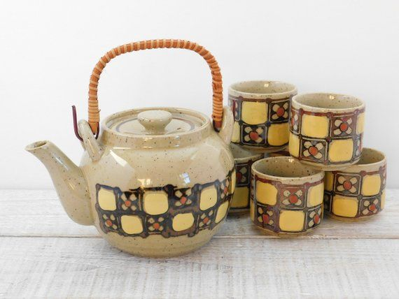 Vintage Otagiri Tea Set ~ Teapot with 6 Cups ~ Retro Japan Stoneware Pottery Tea Pot Teacup ~ Geomet #teapotset