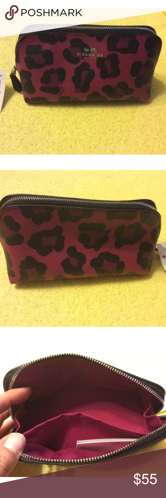 NWT Coach F53438 Ocelot Cosmetic Case 17 NWT Coach F53438 Ocelot Cosmetic Case 17, SV/RN, Silver/Cranberry **A new model item** Silver/black/cranberry multi colored Crossgrain leather Zip-top closure, fabric lining Inside multifunction pocket Measures about 6 1/2 (L) x 3 1/2 (H) x 3 1/4 (W) MSRP: $75.00 + tax Coach Bags Cosmetic Bags & Cases