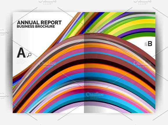 Business report cover template wave Graphics Business report cover - annual report cover template