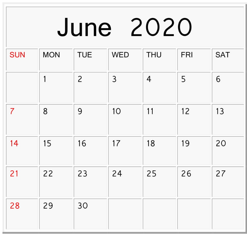 Free Download Printable June 2020 Calendar (With Images