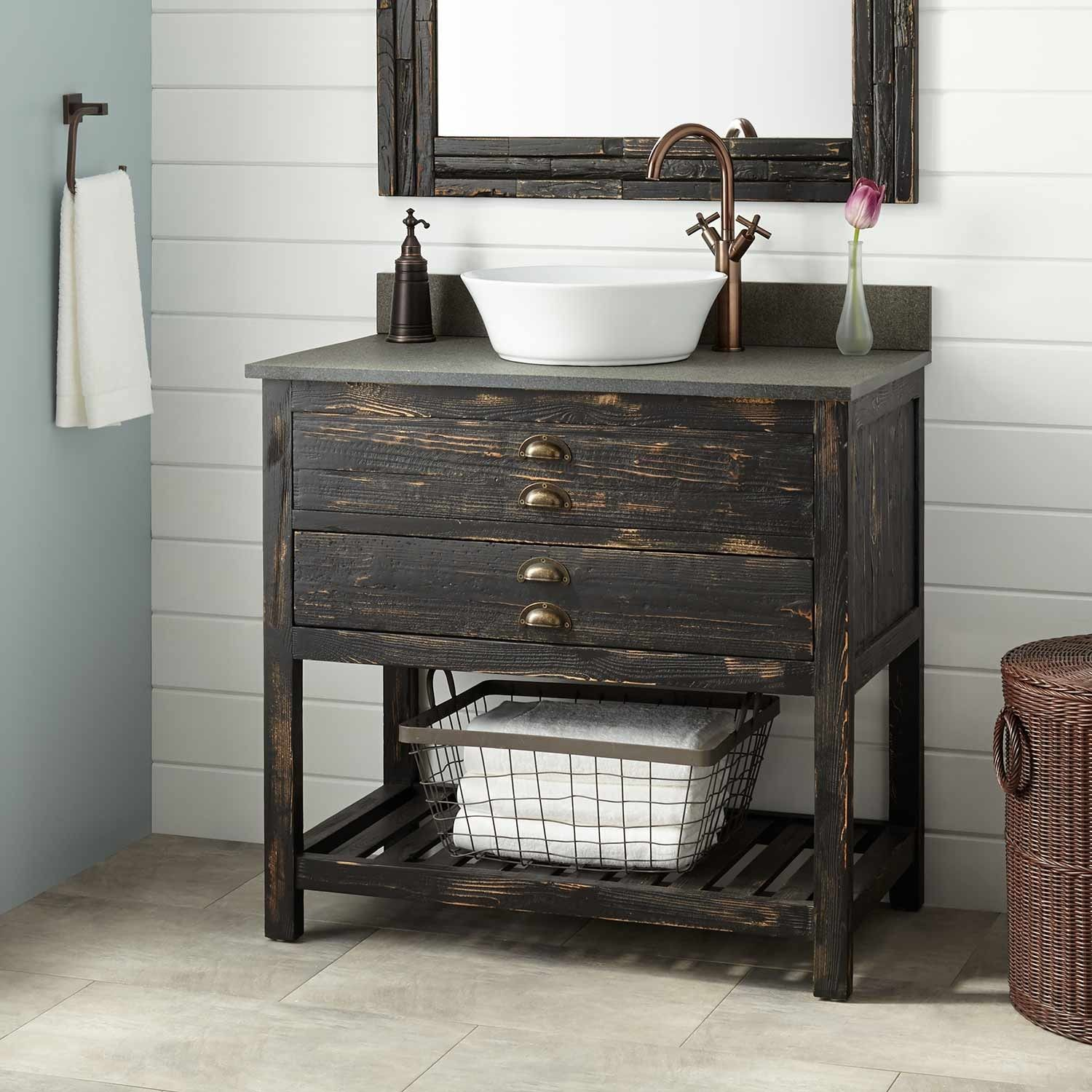 36 Benoist Reclaimed Wood Vessel Sink Vanity Distressed Pine