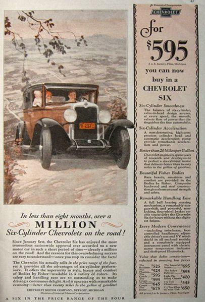 1929 Chevy Six Ad Fred Mizen Vintage Car Ads Chevrolet Sedan Chevy Car Ads