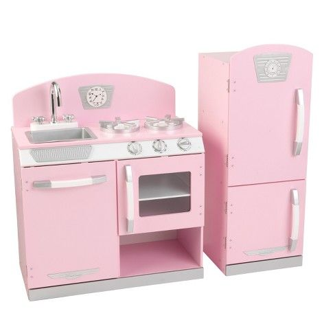 b04df2c99229 Kidkraft Pink Retro Kitchen and Refrigerator Play Set   Target