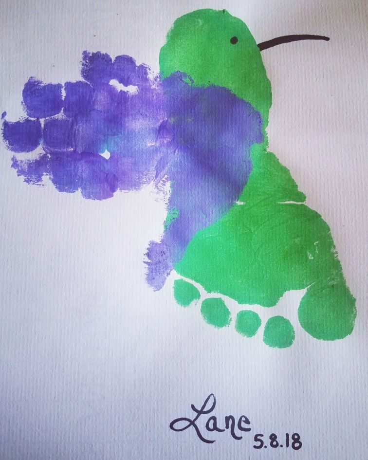 Hummingbird Toddler Craft Hand Print Foot Print