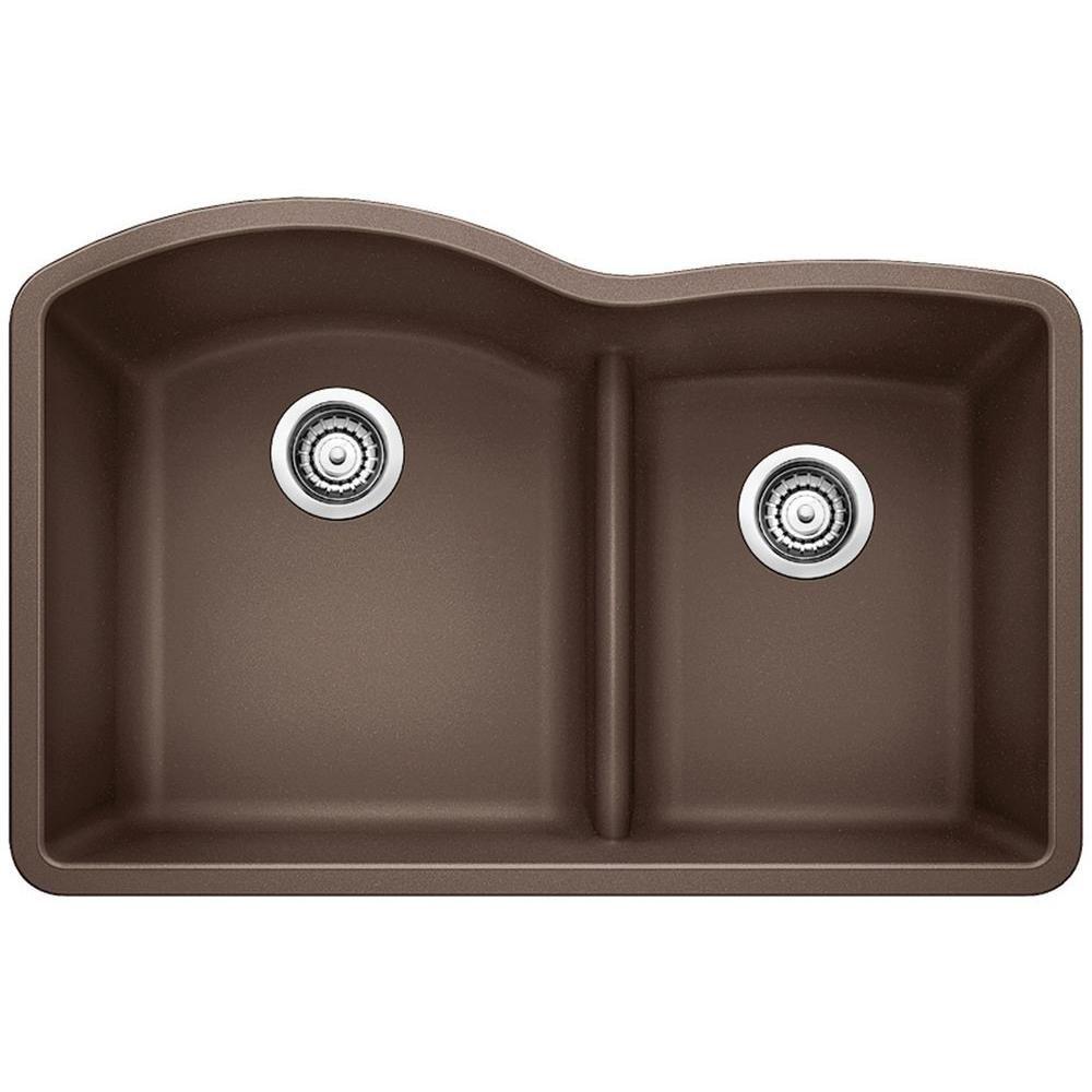 Diamond Undermount Composite 32 In 1 3 4 With Low Divide Double Bowl Kitchen Sin Undermount Kitchen Sinks Double Bowl Kitchen Sink Double Bowl Undermount Sink