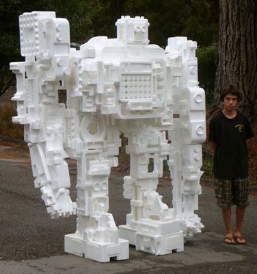 I Knew I Should Have Saved All Those Styrofoam Inserts From The Computer Boxes From Robotsnob Com Styrofoam Art Foam Sculpture Foam Art