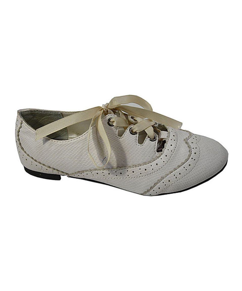 Look at this #zulilyfind! JJ Shoes White Ribbon-Lace Oxford by JJ Shoes #zulilyfinds
