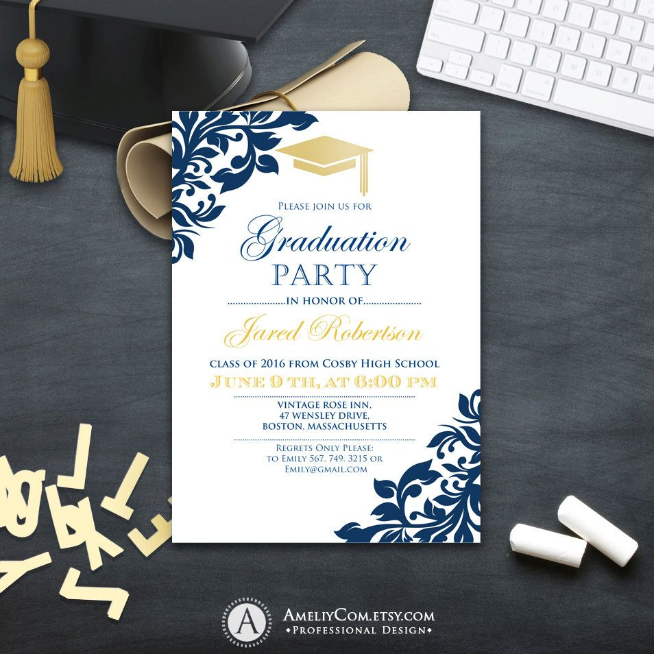 Graduation party invitation Сollege printable template boy
